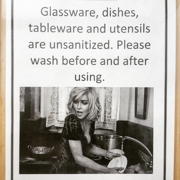 This is Madonna. Madonna sometimes washes dishes. Like a virgin. Be like Madonna.